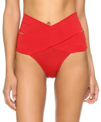 Red crossover high-rise bikini briefs