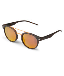 Tortoiseshell & gold rounded sunglasses