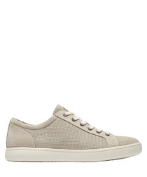Colle taupe leather lace-up sneakers