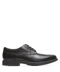 Black leather lace-up shoes