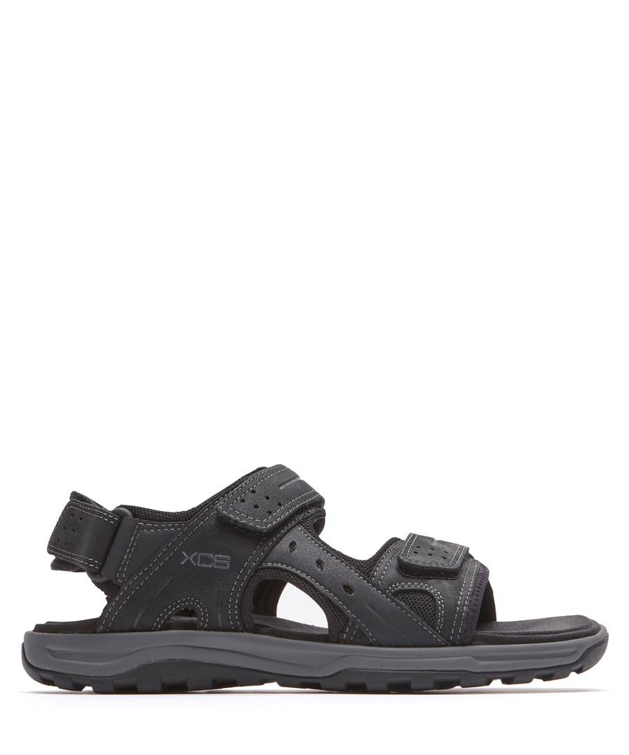 Black leather adjustable sandals Sale - rockport