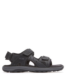 Black leather adjustable sandals