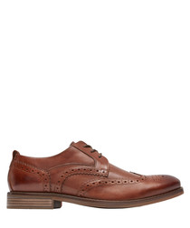 Wynstin brown leather wingtip shoes