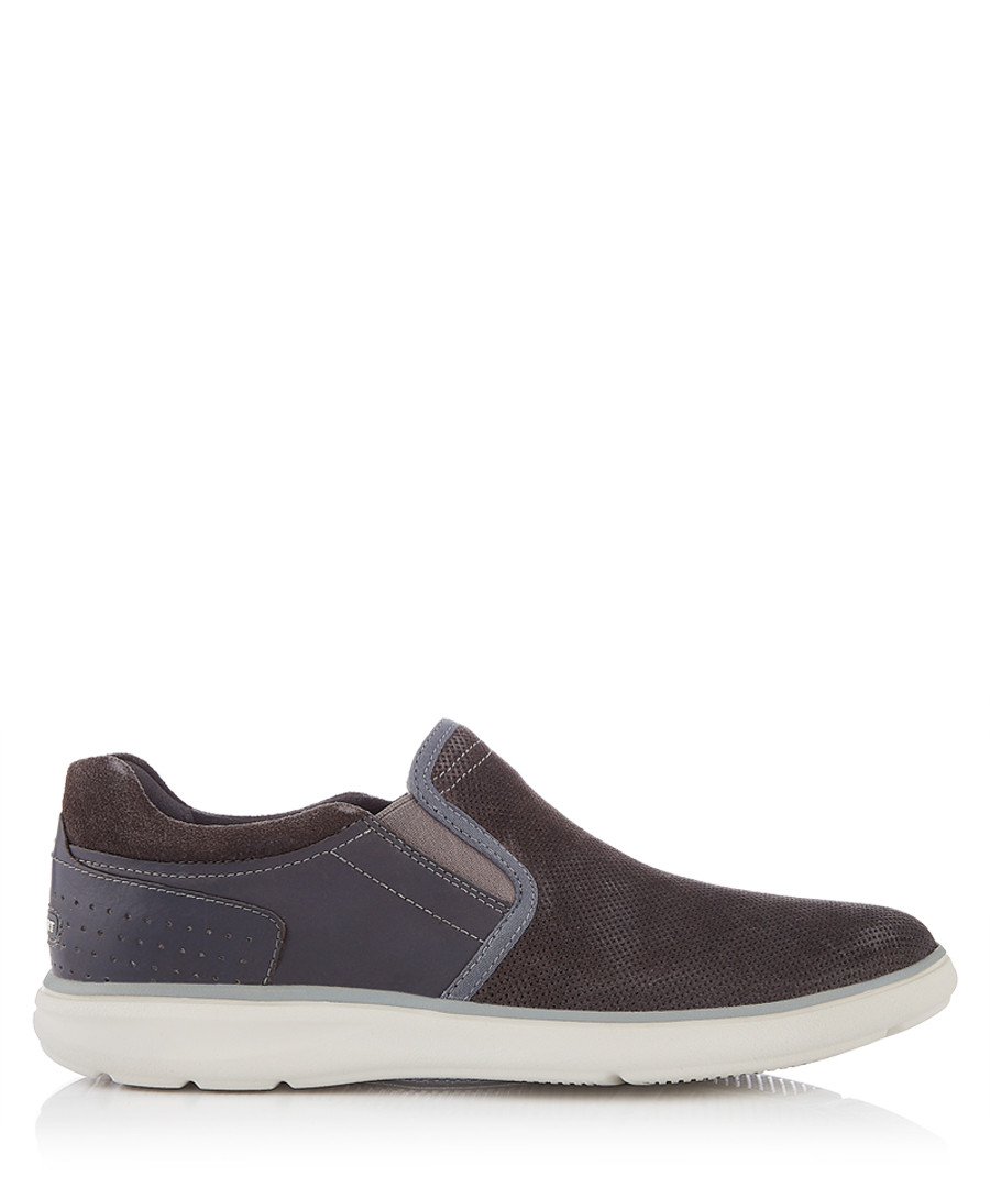 Zaden grey leather lace-up shoes Sale - rockport