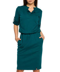 Green cotton blend collar V-neck dress