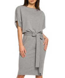 Grey cotton blend tie-waist dress