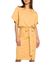 Yellow cotton blend tie-waist dress