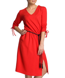 Red cotton blend V-neck dress