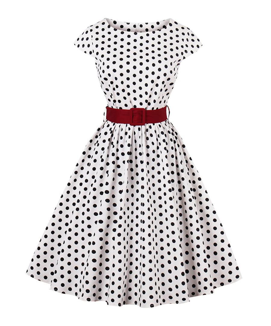 White & black cotton spotty dress Sale - Mixinni