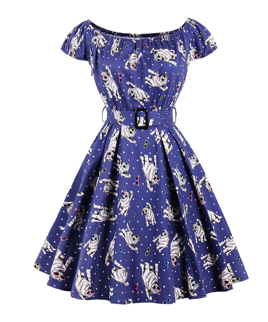 Blue cotton floral print dress Sale - mixinni