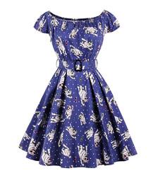 Blue cotton floral print dress