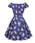 Blue cotton floral print dress Sale - mixinni Sale