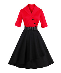 Red & black cotton dress