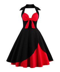 Black & red cotton halter dress