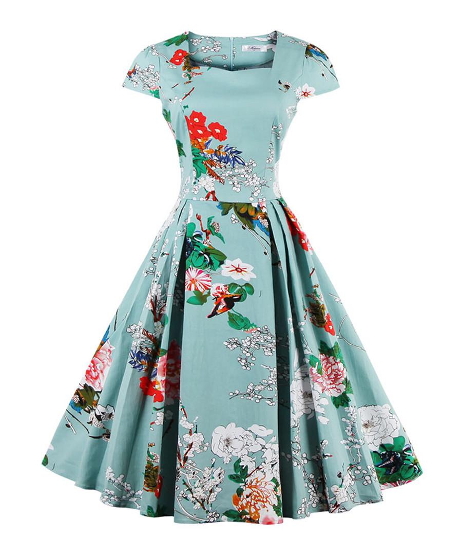 Green cotton floral midi dress Sale - Mixinni