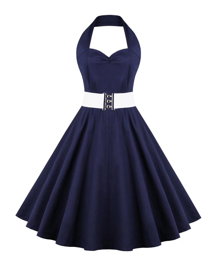 Navy cotton halterneck dress Sale - Mixinni