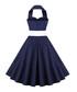 Navy cotton halterneck dress Sale - Mixinni Sale