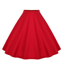 Red cotton full knee-length skirt