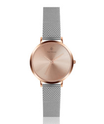 Two-tone mesh strap watch