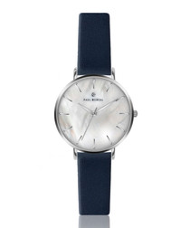 Navy blue & Silver-tone leather watch