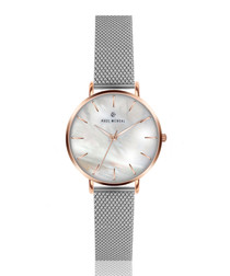 Silver-tone mother of pearl mesh watch