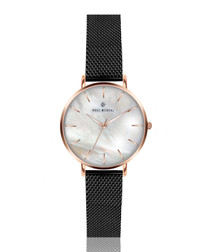 Black & gold-tone mother of pearl watch