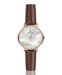 Brown leather & mother of pearl watch