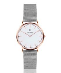Silver-tone & white steel mesh watch