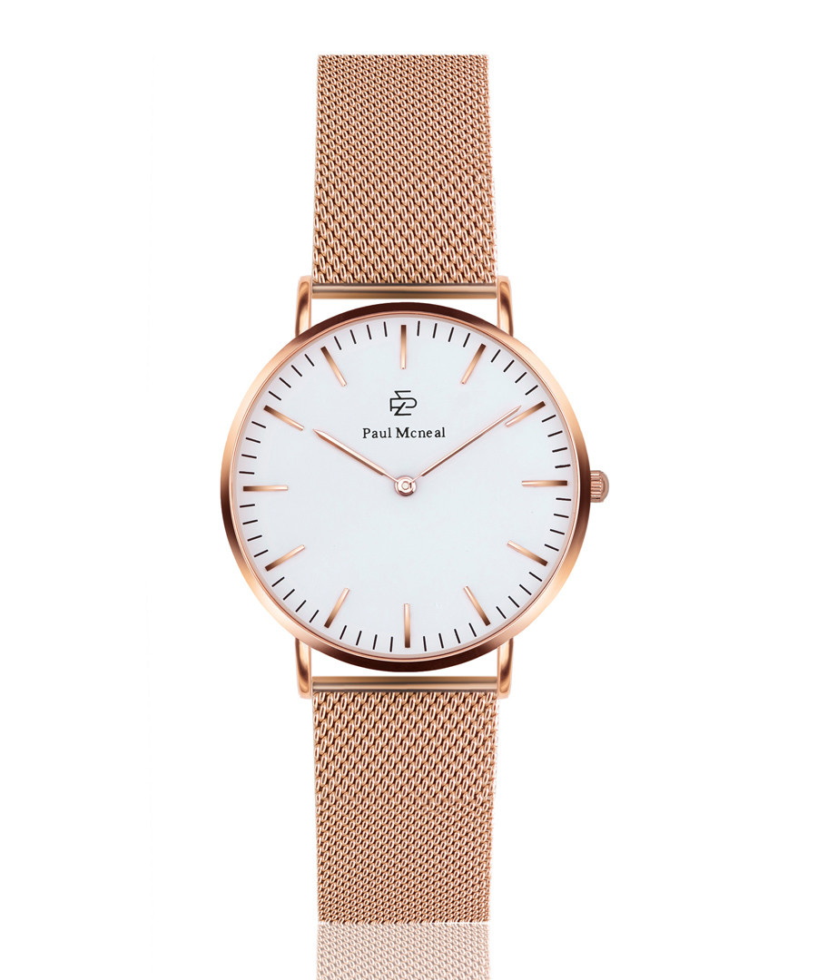 Rose gold-tone & white steel mesh watch Sale - Paul McNeal