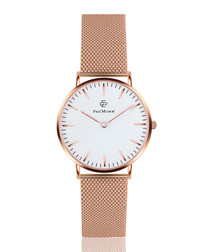 Rose gold-tone & white steel mesh watch