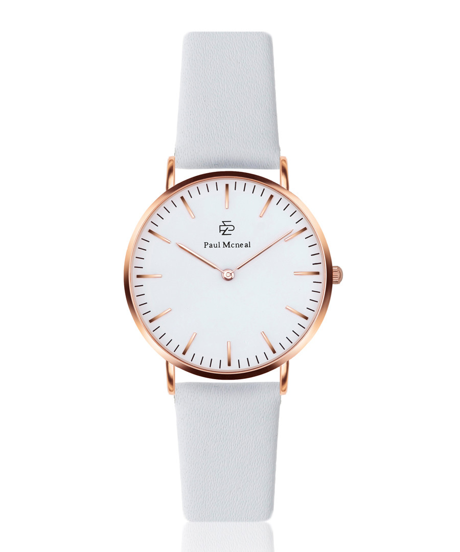 White & rose gold-tone leather watch Sale - paul mcneal
