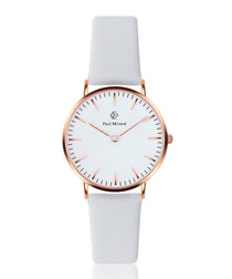 White & rose gold-tone leather watch