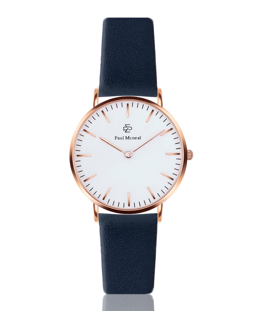 Navy blue & white leather watch Sale - Paul McNeal