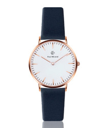 Navy blue & white leather watch