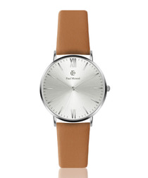 Camel & silver-tone leather strap watch