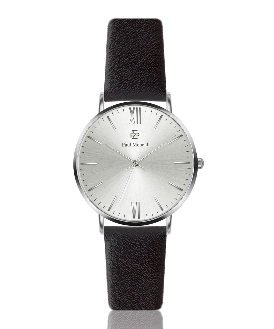 Black & silver-tone leather strap watch Sale - Paul McNeal
