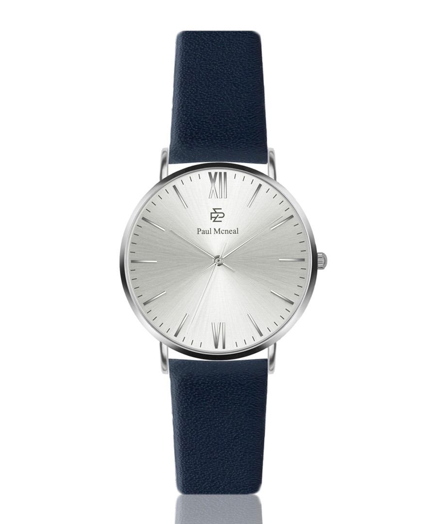 Royal blue & silver-tone leather watch Sale - Paul McNeal