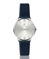 Royal blue & silver-tone leather watch