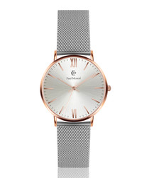 Silver-tone stainless steel mesh watch