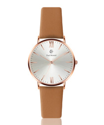 Camel brown & silver-tone leather watch