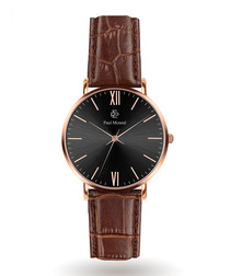 Brown & black moc-croc leather watch