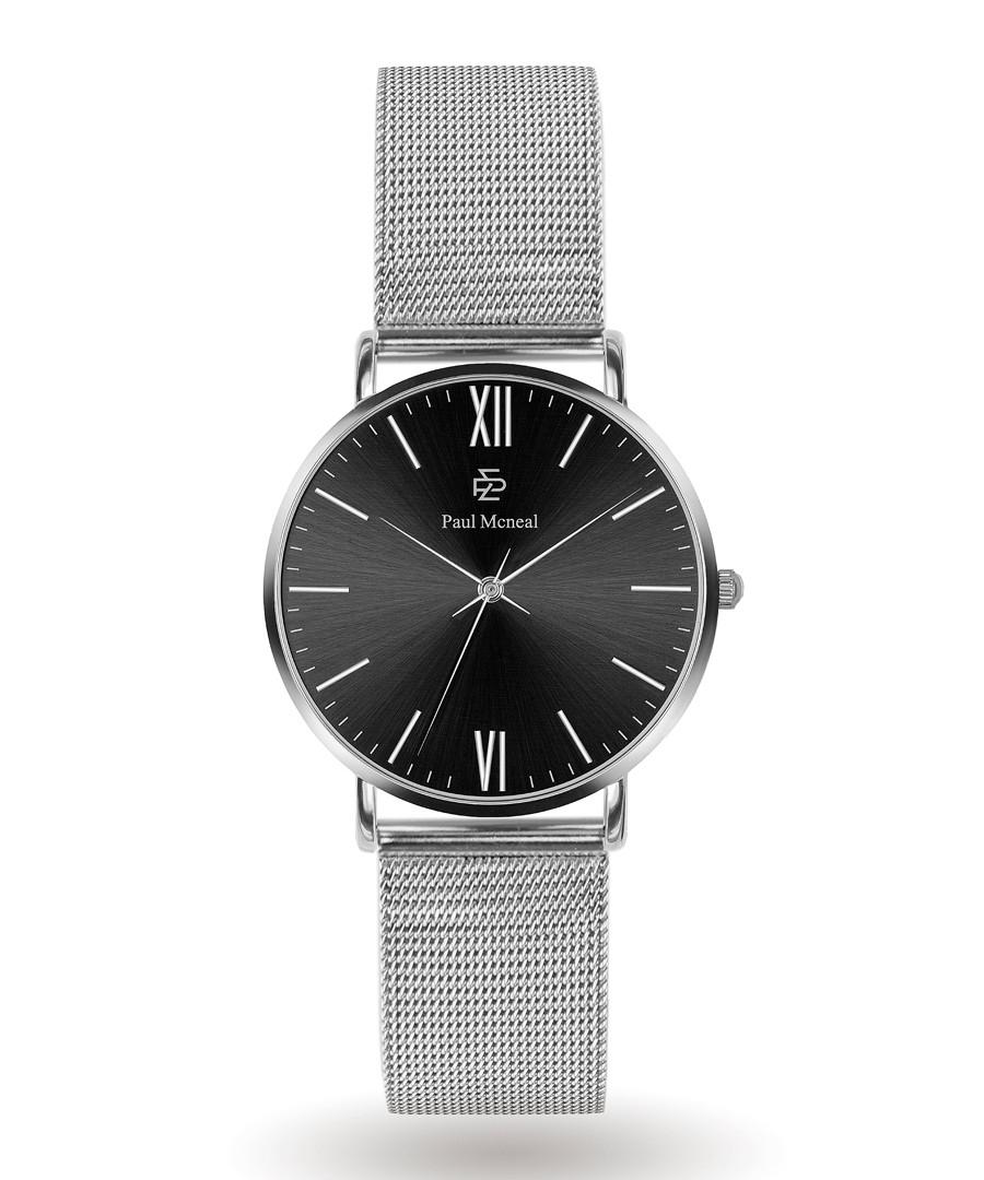 Silver-tone & black steel mesh watch Sale - Paul McNeal