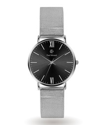 Silver-tone & black steel mesh watch