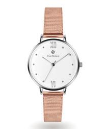Rose gold-tone & white steel mesh watch