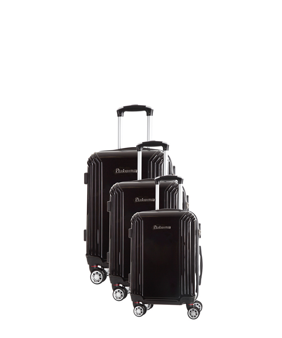 3pc black spinner suitcase nest Sale - platinium