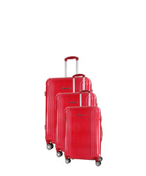 3pc red spinner suitcase nest