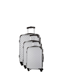3pc silver spinner suitcase nest
