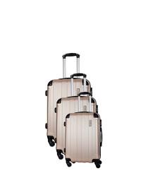 3pc beige spinner suitcase nest