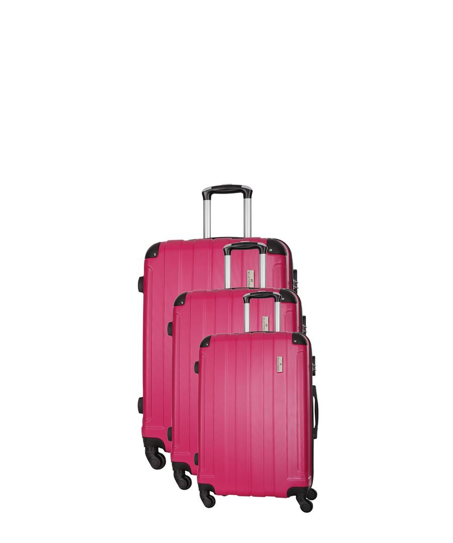 3pc fuchsia spinner suitcase nest Sale - platinium