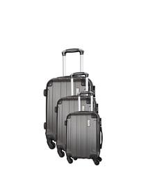 3pc grey spinner suitcase nest
